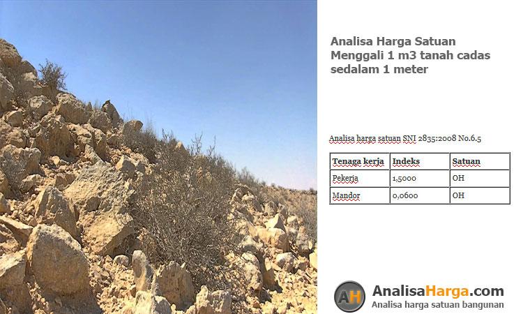 analisa harga satuan Menggali 1 m3 tanah cadas sedalam 1m