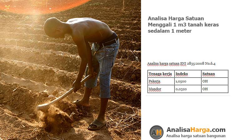 analisa harga satuan Menggali 1 m3 tanah keras sedalam 1m