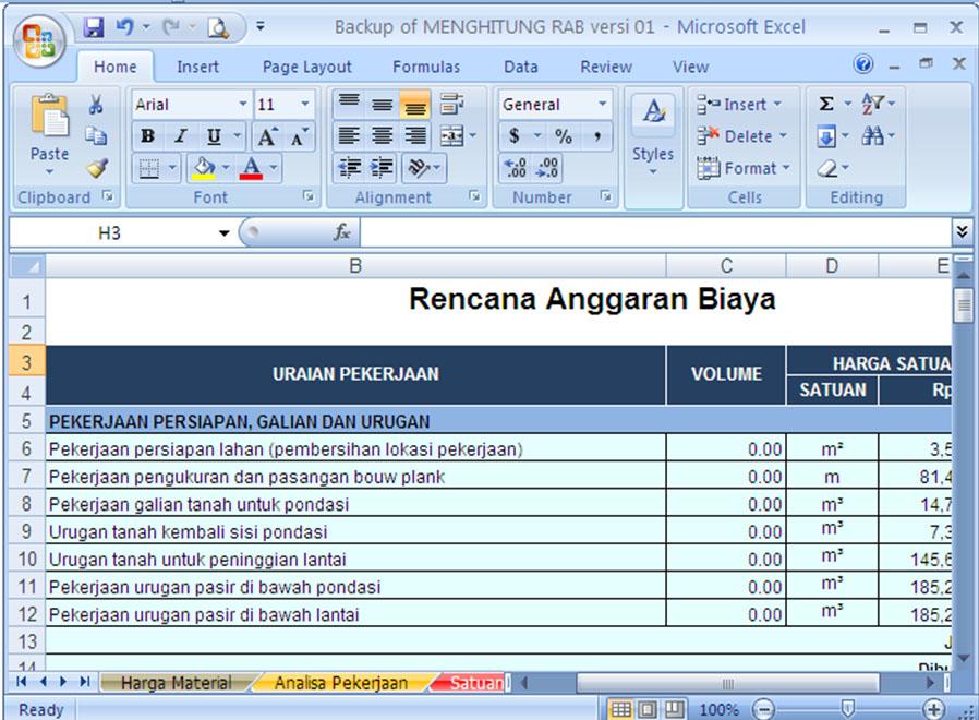 Software RAB Excel untuk Menghitung Anggaran Biaya Bangunan